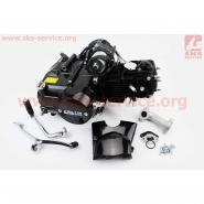 Двигатель мопедный 110cc (Alpha) (механика, заливная горловина сверху, черный) (СЛОН)