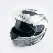 Шлем трансформер FGN (mod:111) (белый с узором, солнцезащитные очки)