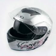 Шлем трансформер FGN (mod:111) (серебро, солнцезащитные очки)