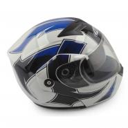 Шлем трансформер FGN (mod:111) (бело-синий с узором, солнцезащитные очки)